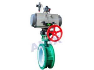 High performance fluorine lined pneumatic butterfly valve